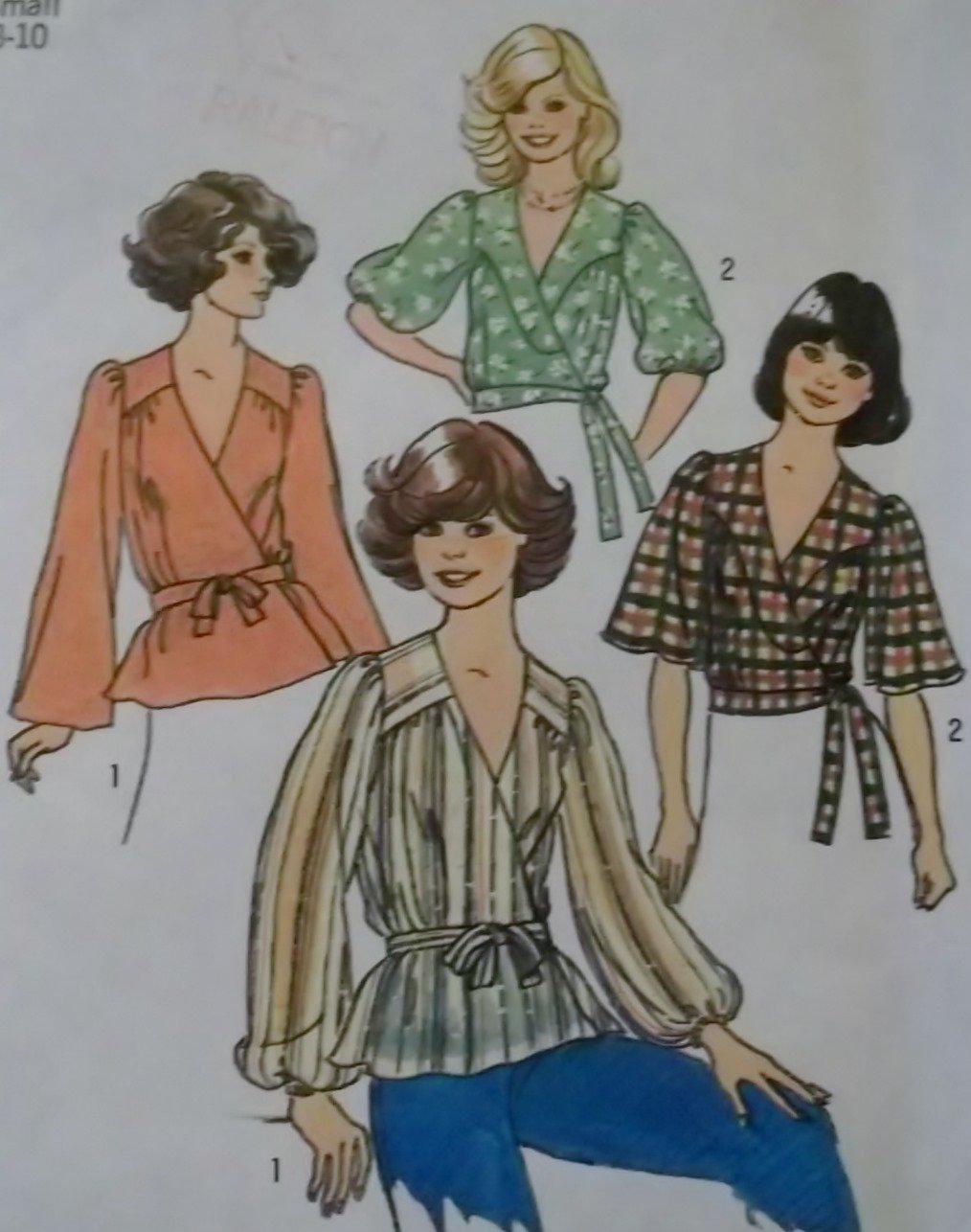 Vintage Misses' Front Wrap Tops Simplicity 7351 Sewing Pattern, Size SM 8 10, Uncut