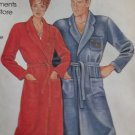 Misses' and Men's Robe McCalls 0011 Pattern, Plus Size S to XL, Uncut