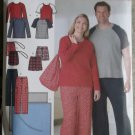 Unisex Pants or Shorts, Knit Top, Blanket & Bag Simplicity 4889 Pattern, Plus Size XL, XXL Uncut