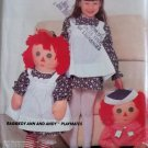 McCalls 628 Raggedy Ann and Andy with childs apron Pattern, UNCUT