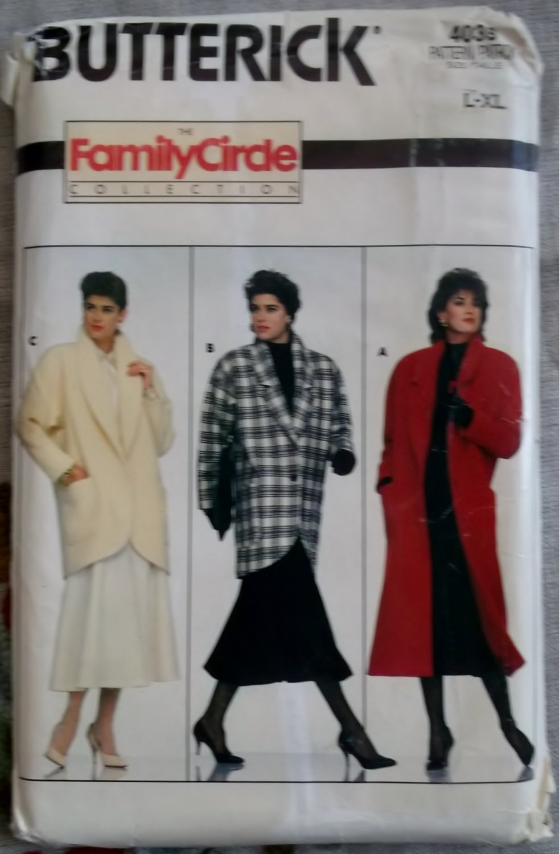 Butterick 4039 Sewing Pattern Family Circle Collection Misses Coat , Plus Size L XL, UNCUT