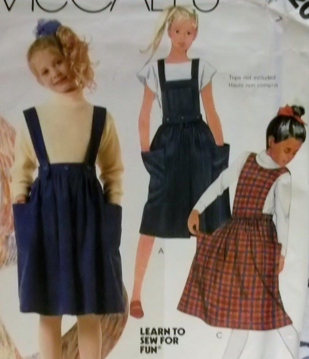 Vintage Learn to Sew McCalls 2620 Girls Skirt, Straps & Bibs Pattern, Size 7, Uncut