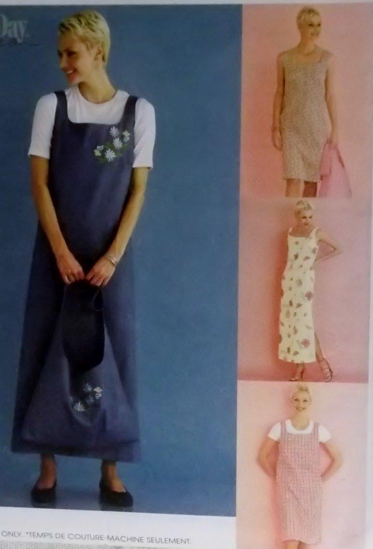 Misses Dress or Jumper in 2 lengths & Tote bag McCall's 2669 Patttern, Sz 14 16 18, UNCUT