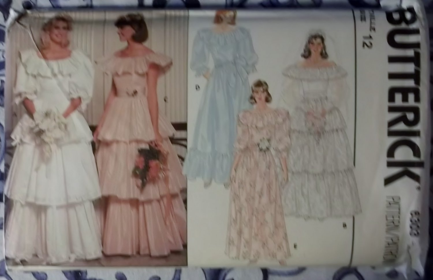 Vintage butterick 6303 misses bridal dress pattern size for Butterick wedding dress patterns