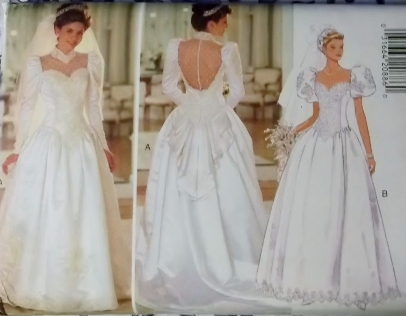 Misses bridal dress butterick 3839 pattern size 14 16 18 for Butterick wedding dress patterns