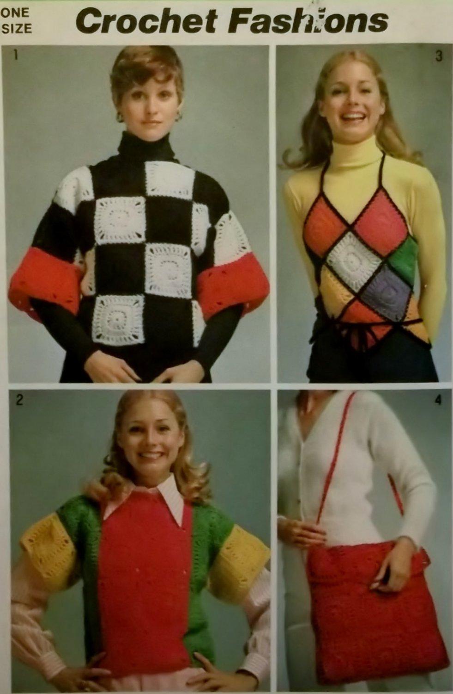 Vintage 70s Simplicity 5380 Crochet Top Halter & Tote Instructions