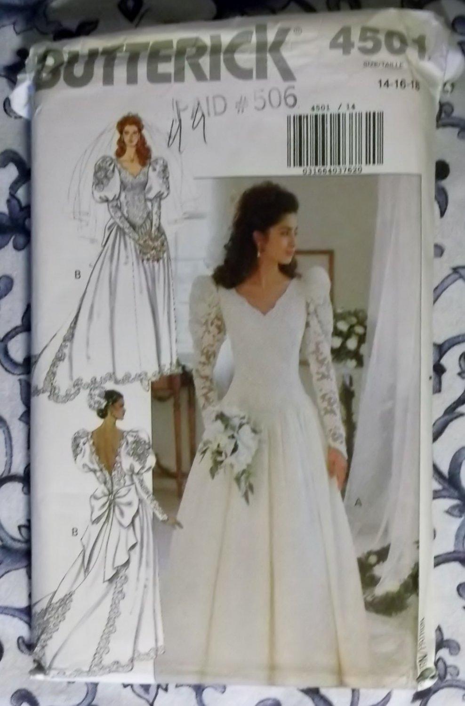 Misses bridal dress butterick 4501 pattern size 14 16 18 for Butterick wedding dress patterns