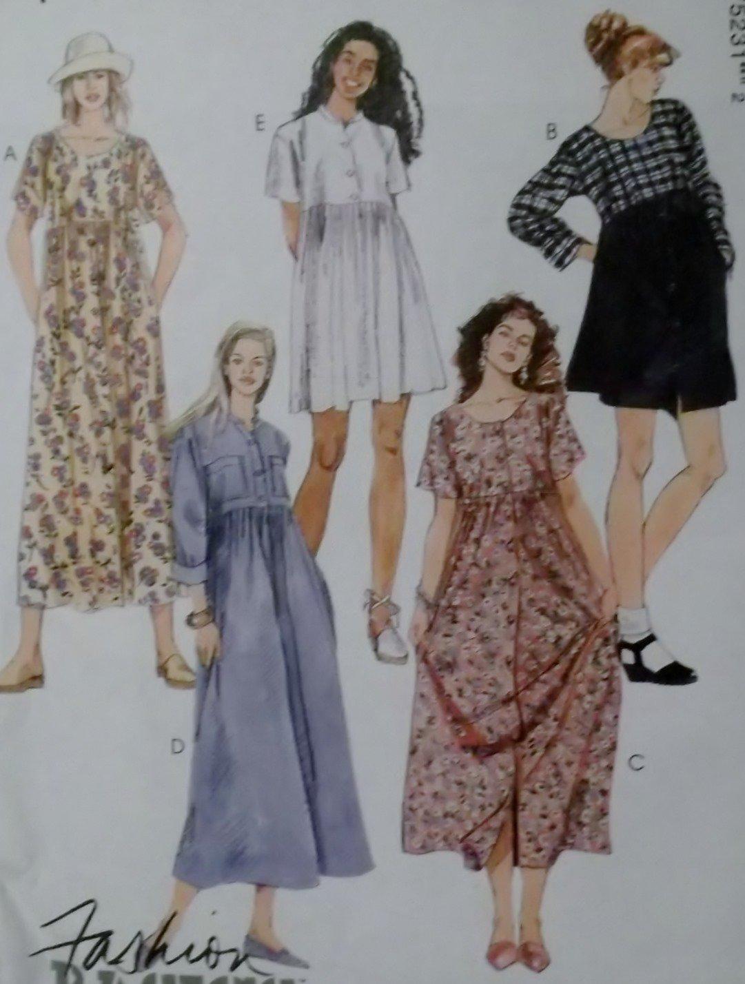 McCalls 7523 Misses Loose fitting Dress in 2 lengths Pattern, Sz 10, 12, 14, Uncut