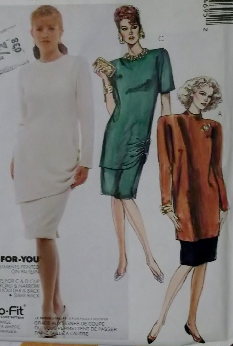 Easy Misses' 2 Piece Dress McCalls 4469 Pattern Plus Sz 20 22 24, Uncut