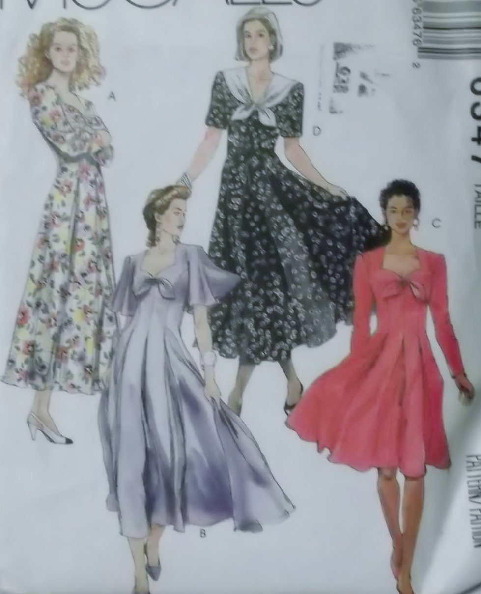 Easy Misses' 2 Piece Dress McCalls 6347 Pattern Plus Sz 20 22 24, Uncut