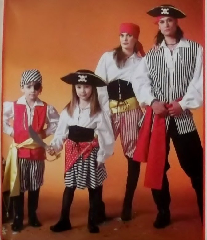 Misses' and Men's Pirate Costume, McCalls MP 317 or 4952 Pattern, Plus Size S to XL, Uncut