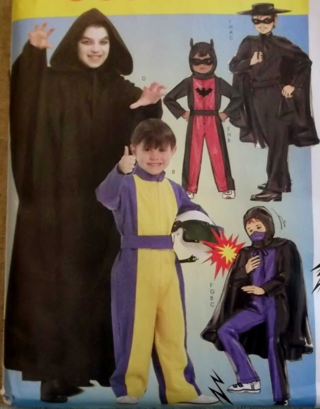 Mccalls  M 5952 Children's Boys' Hero Costumes, Sizes 7 to 14, UNCUT