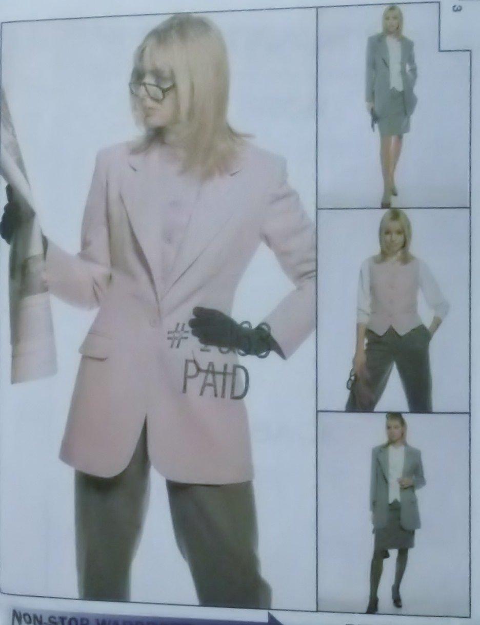 McCalls 9008 Pattern, Misses' Lined Jacket & Vest Pants & Skirt, Size 12, UNCUT