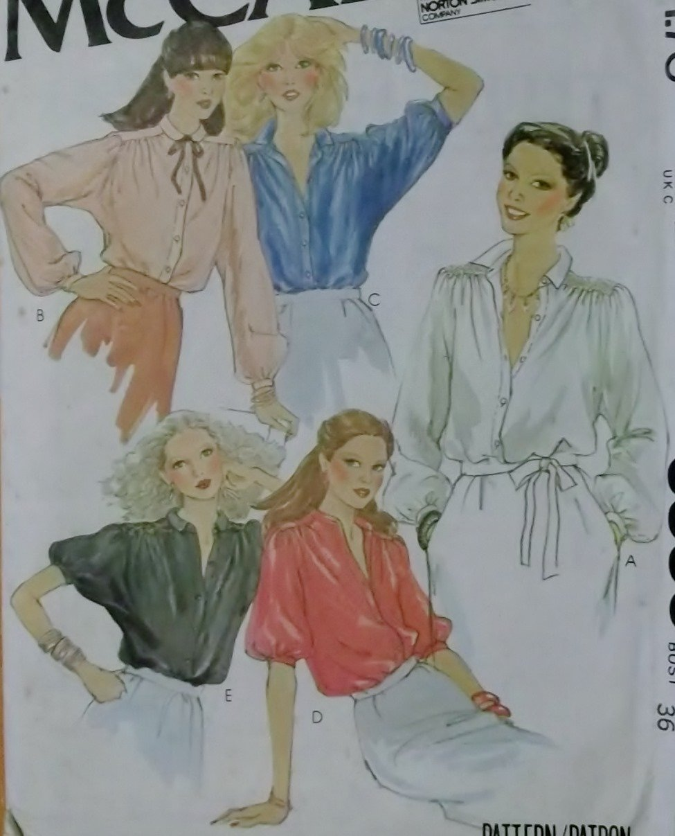McCalls 6536 Pattern, Misses Blouses, Size 14, UNCUT