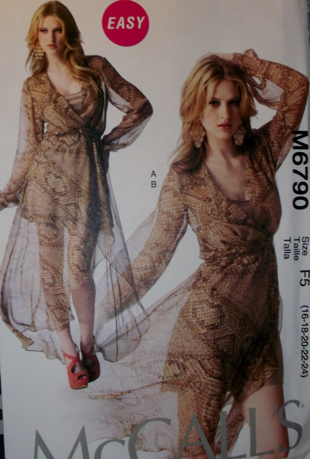 Easy McCalls M 6790 Pattern, Fashion Star Misses' Dress & Slip, Plus Size 16 18 20 22 24, UNCUT