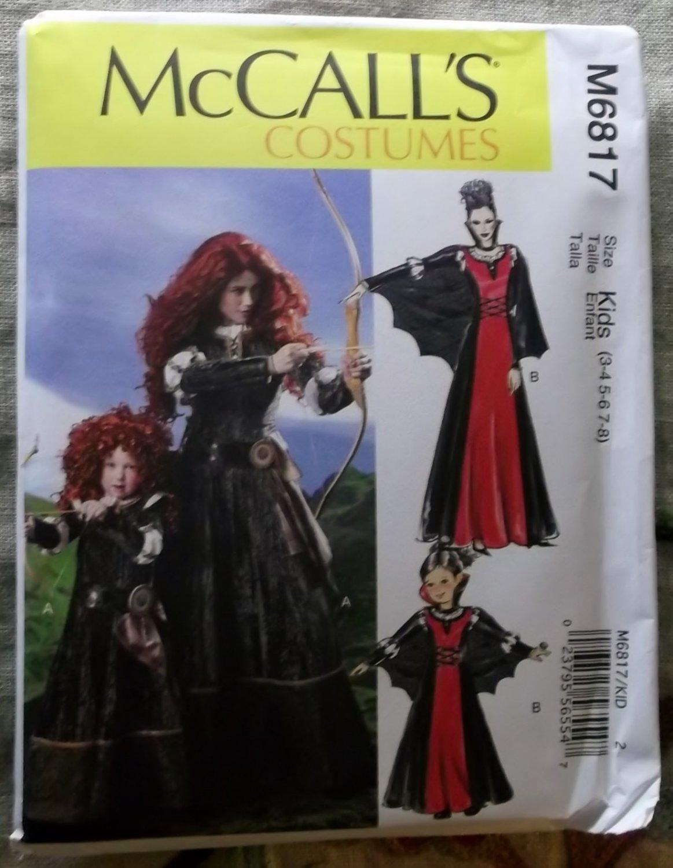 McCalls M 6817 Girls' Medieval Scottish Princess Costumes, Sz 3 to 8, Uncut