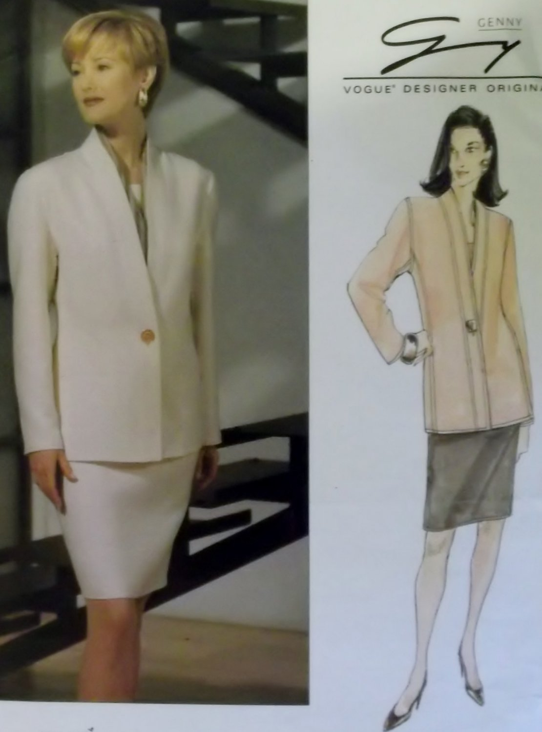 Vogue 1392 Genny Designer Jacket and Skirt Sewing Pattern, Size 8 10 12 Uncut