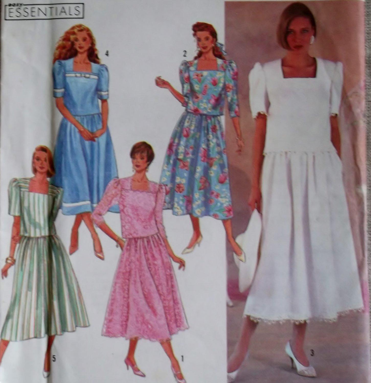 misses or petite two piece dress has trim variations simplicity 7063 pattern size 8 to 16 uncut. Black Bedroom Furniture Sets. Home Design Ideas