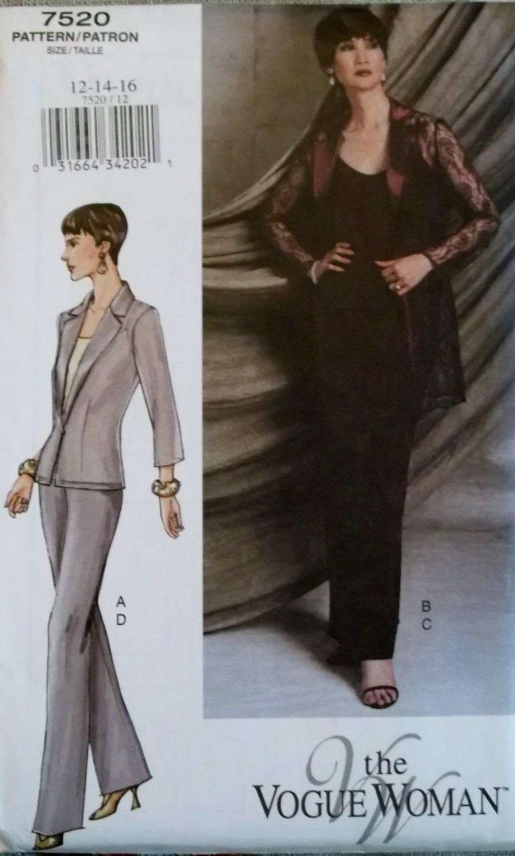 Misses� Jacket, Camisole, Skirt & Pants Vogue 7520 Patterns, Sizes 12, 14, 16, UNCUT