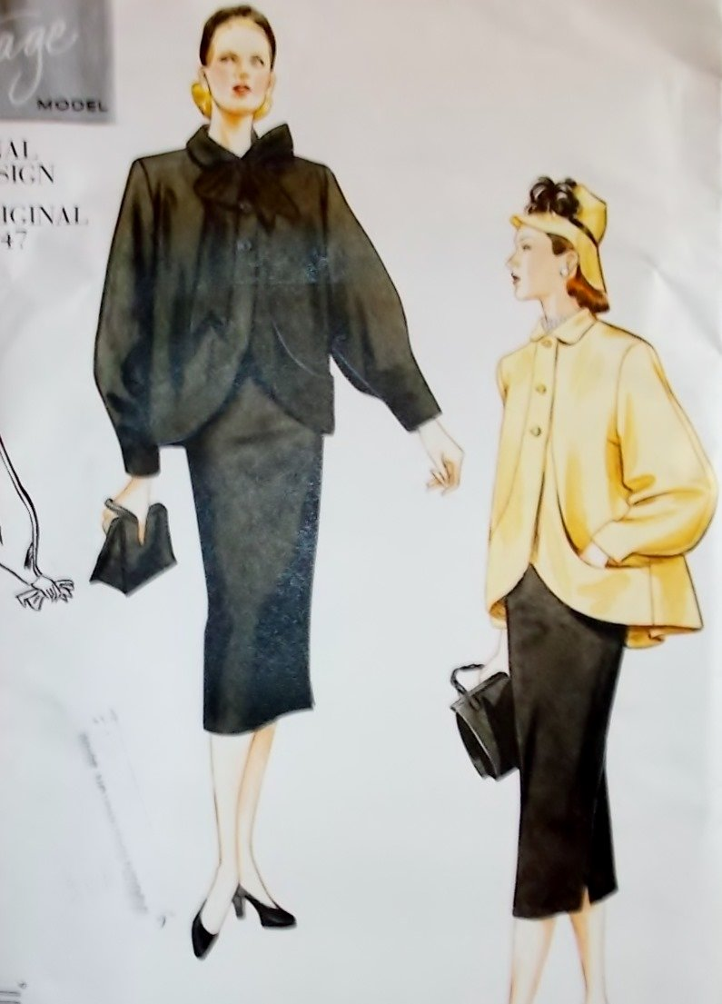 1947 Style Misses Jacket Skirt Vogue 2444 Pattern, Plus Size 18 20 22, Uncut
