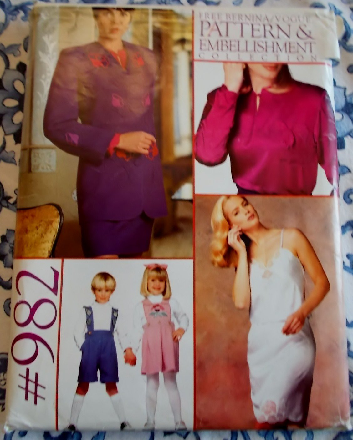 Vogue 982 Clothing & an Embellishment collection Pattern, All Sizes, Uncut