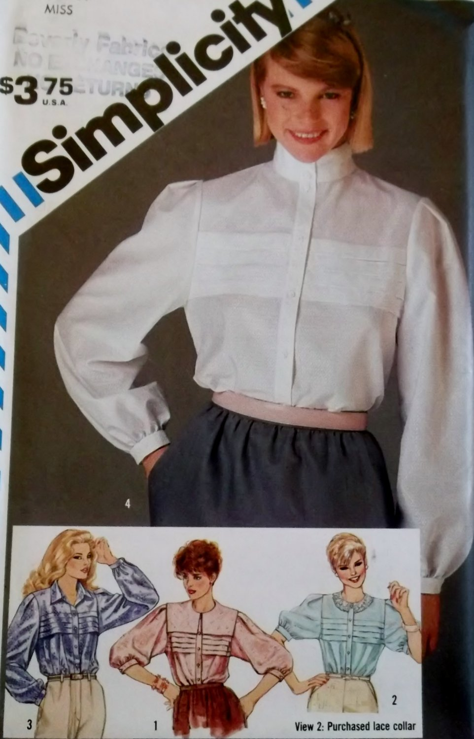 Retro Simplicity 6356 Misses Tucked Blouse Pattern,  Size 14, UNCUT