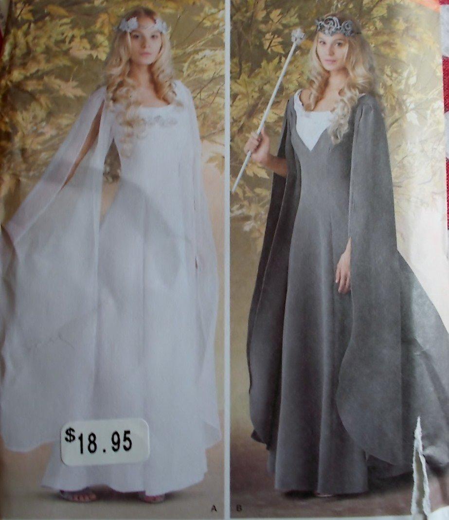 Misses Fantasy Queen Medieval Princess Gown & Cape Simplicity 1551 Pattern, Plus Sz 16 to 24, Uncut