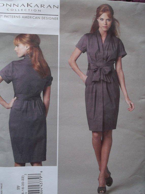 Misses' Dress and Belt Donna Karan Design Vogue V1220 Patterns, Plus Size 16-22, Uncut