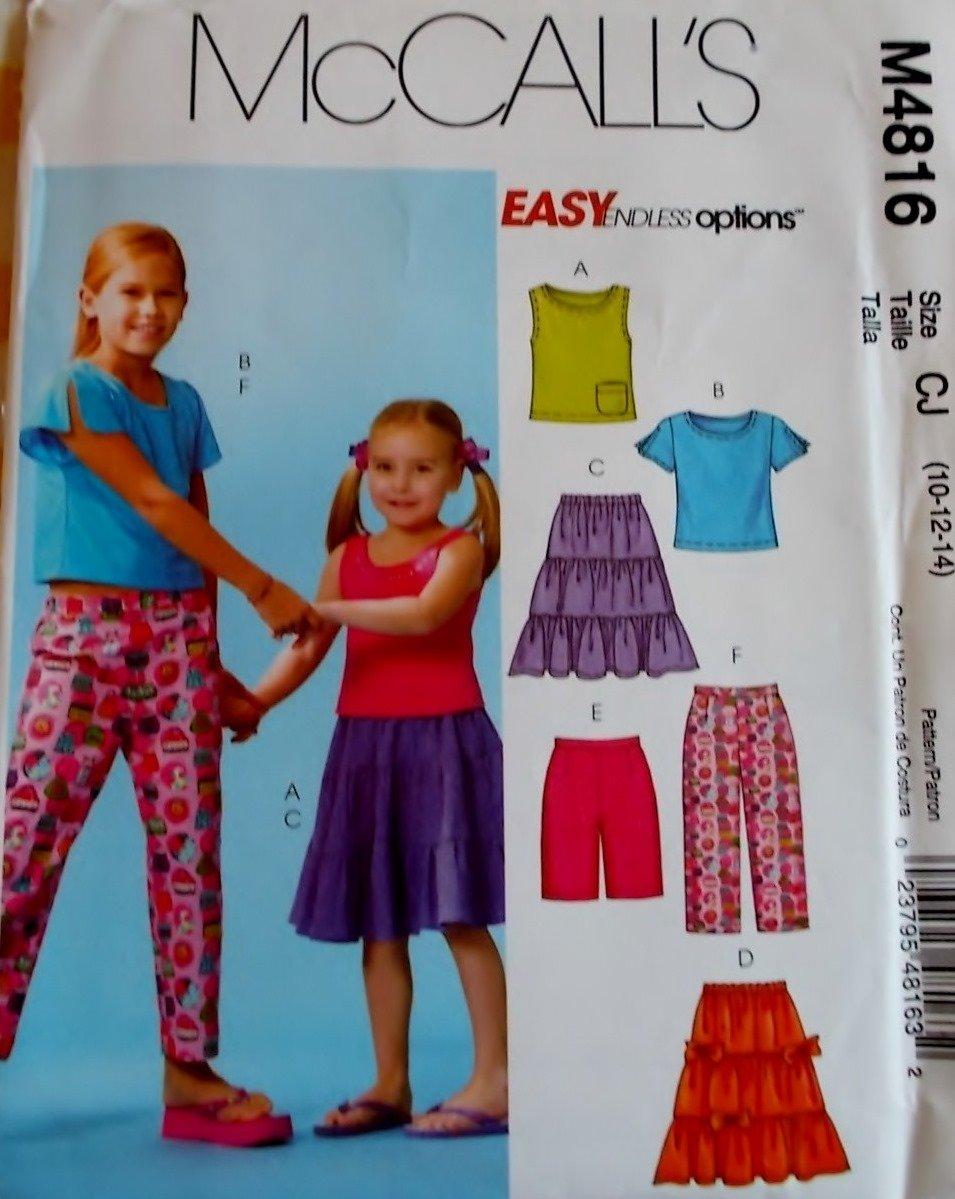 McCalls M 4816 Girls' Tops, Skirts, Shorts & Capri Pants Pattern, Sz 10, 12, 14, Uncut