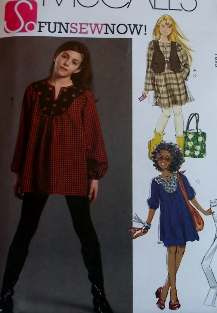 McCalls  M 5922 Girls' Lined Vest, Top, Dresses & Leggings Pattern, Sizes 7 to 14, UNCUT