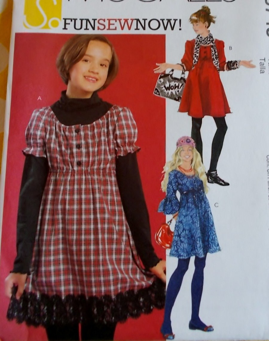 Girls' Plus Dress in two Lengths McCalls M5745 Pattern, Size 10 1/2 to 16 1/2, Uncut