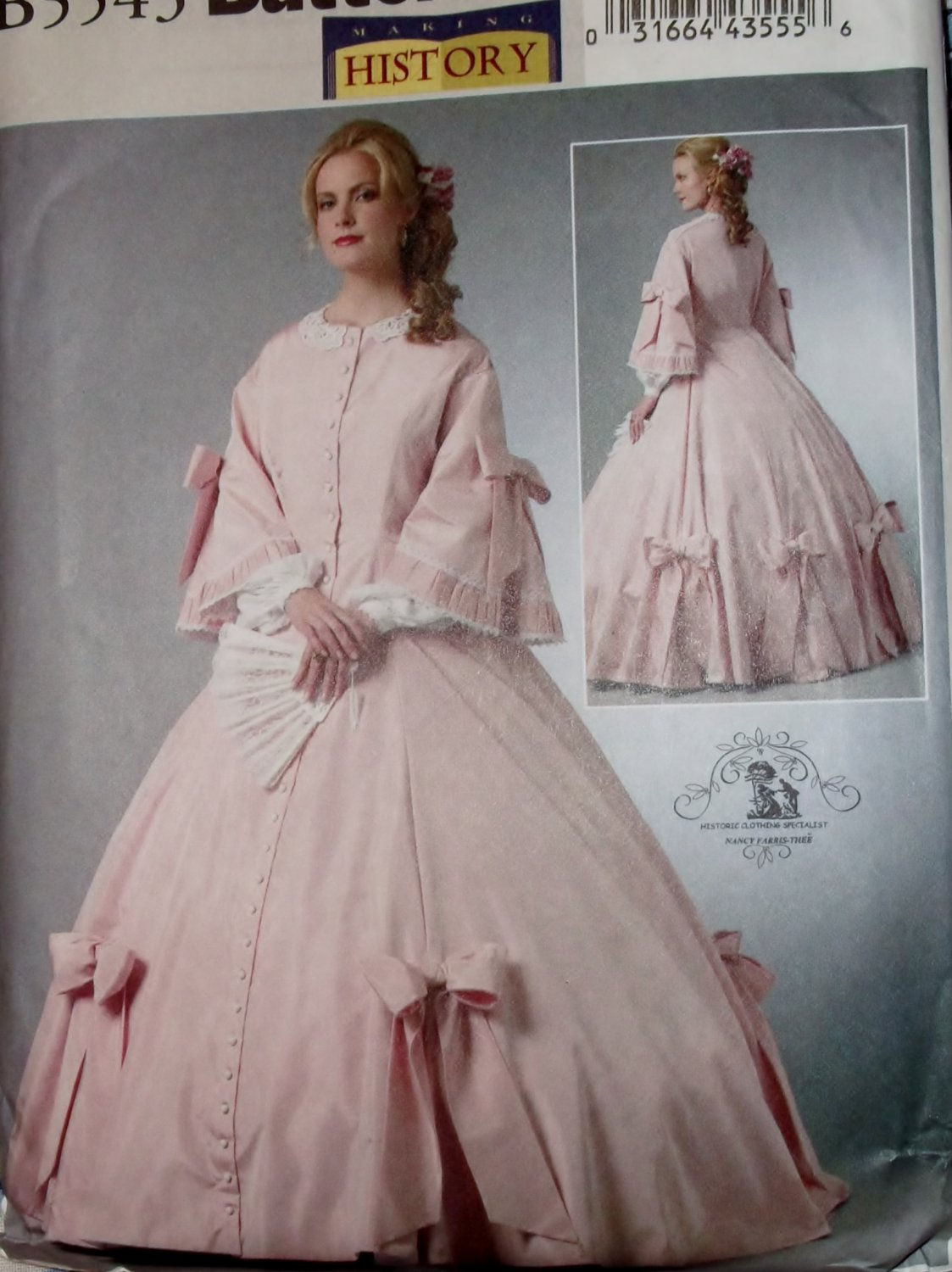 Making History Misses' Civil War Gown Costume Butterick B5543 Pattern, Plus Size 14 to 20, Uncut