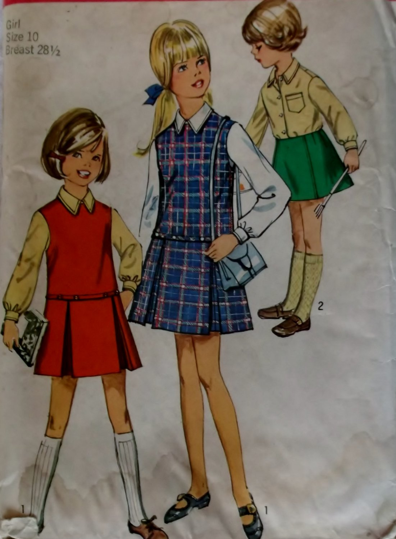 Girls' Jumper, Skirt And Blouse Simplicity 8311 Vintage Pattern, Girls Size 10, UNCUT