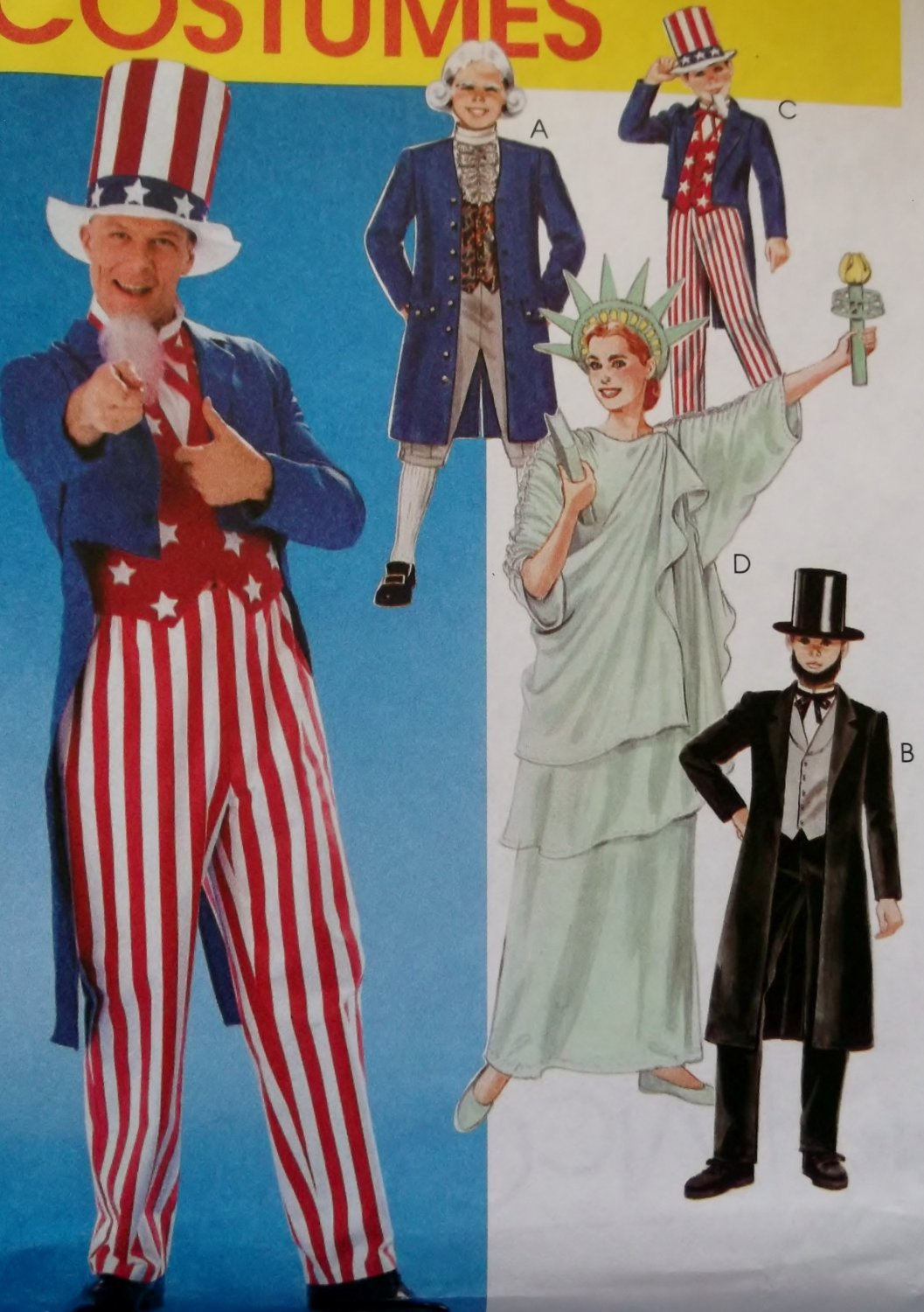 Adult Patriotic Costumes, McCall's Pattern M 6143, Size Med, UNCUT