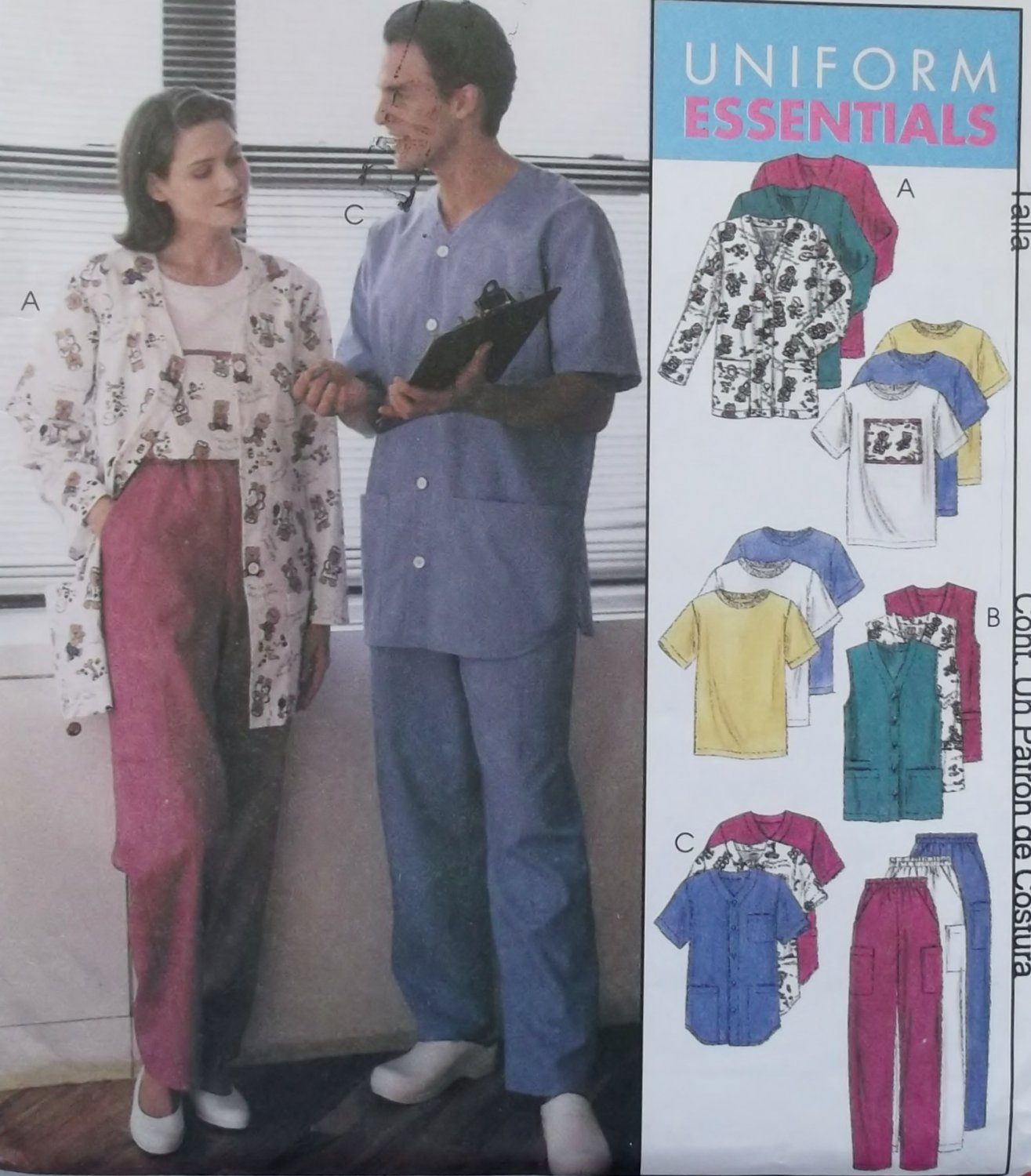 Unisex Uniform Cardigan or Vest, Shirt, T-Shirt & Pants McCalls 9652 Pattern, Plus Sz XL, XXL Uncut
