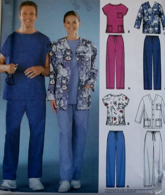 Unisex Scrubs Uniform Pants, Top & Jacket Simplicity 5441 Pattern, Size L  & XL, UNCUT