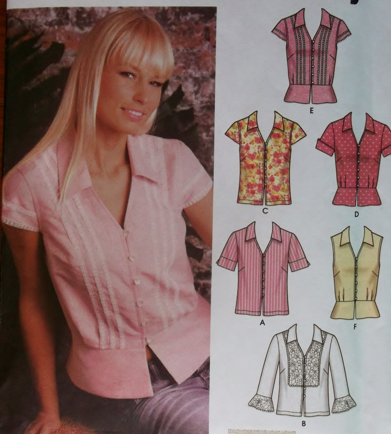 Easy Misses' Blouse with Sleeve and Trim Simplicity 5194 Pattern Plus Sz 14 to 20 Uncut
