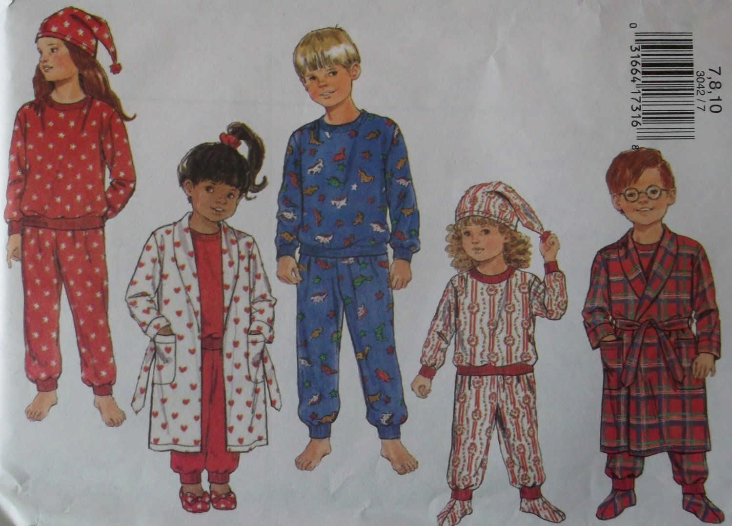 Butterick 3042, Boys', Girls' Robe, Belt, Pajamas, Hat & Booties Pattern, Size 7 8 10, Uncut FF