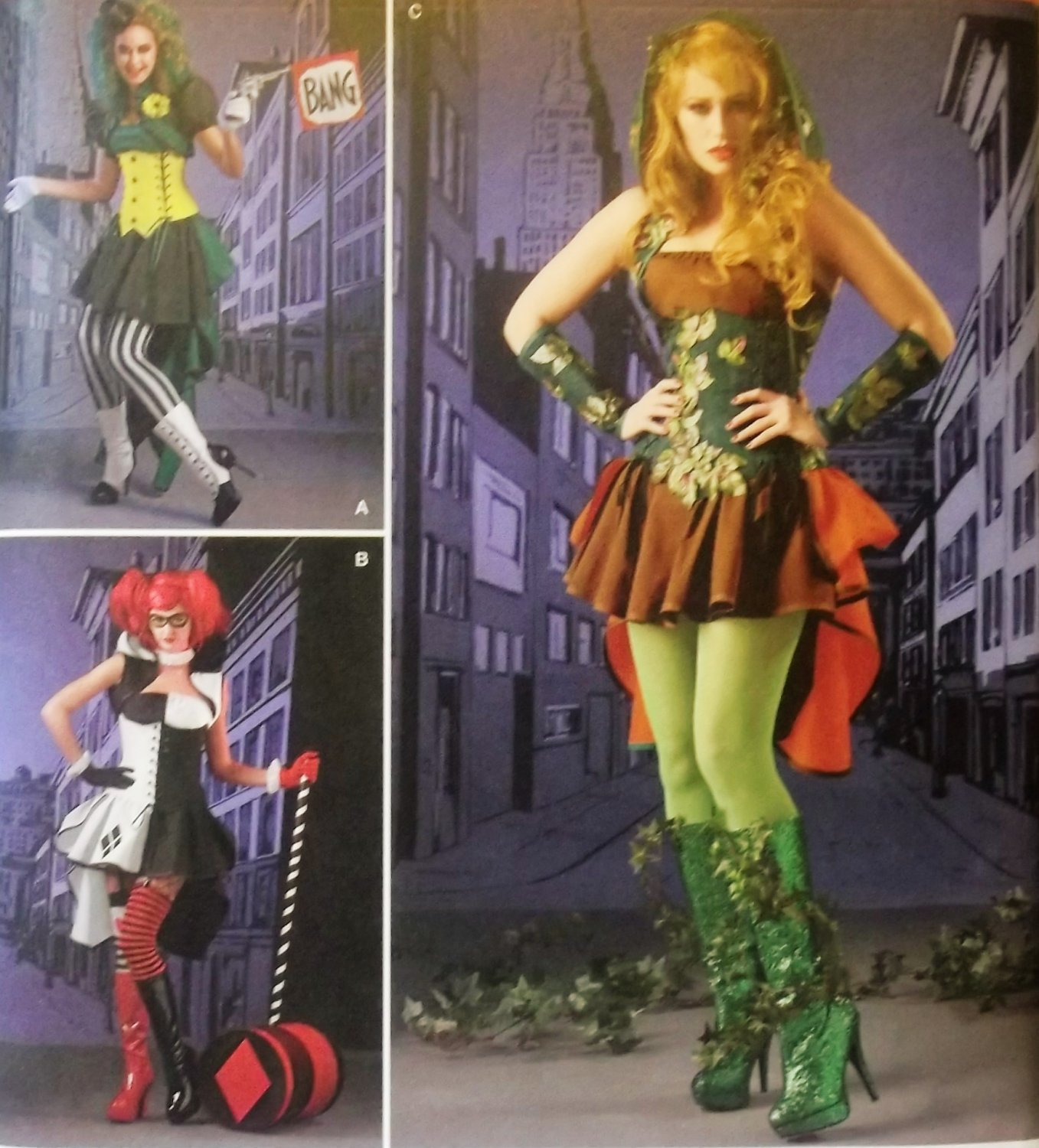 Misses' Super Villainess Costumes Simplicity 1091  Pattern, Size 6 to 14, UNCUT