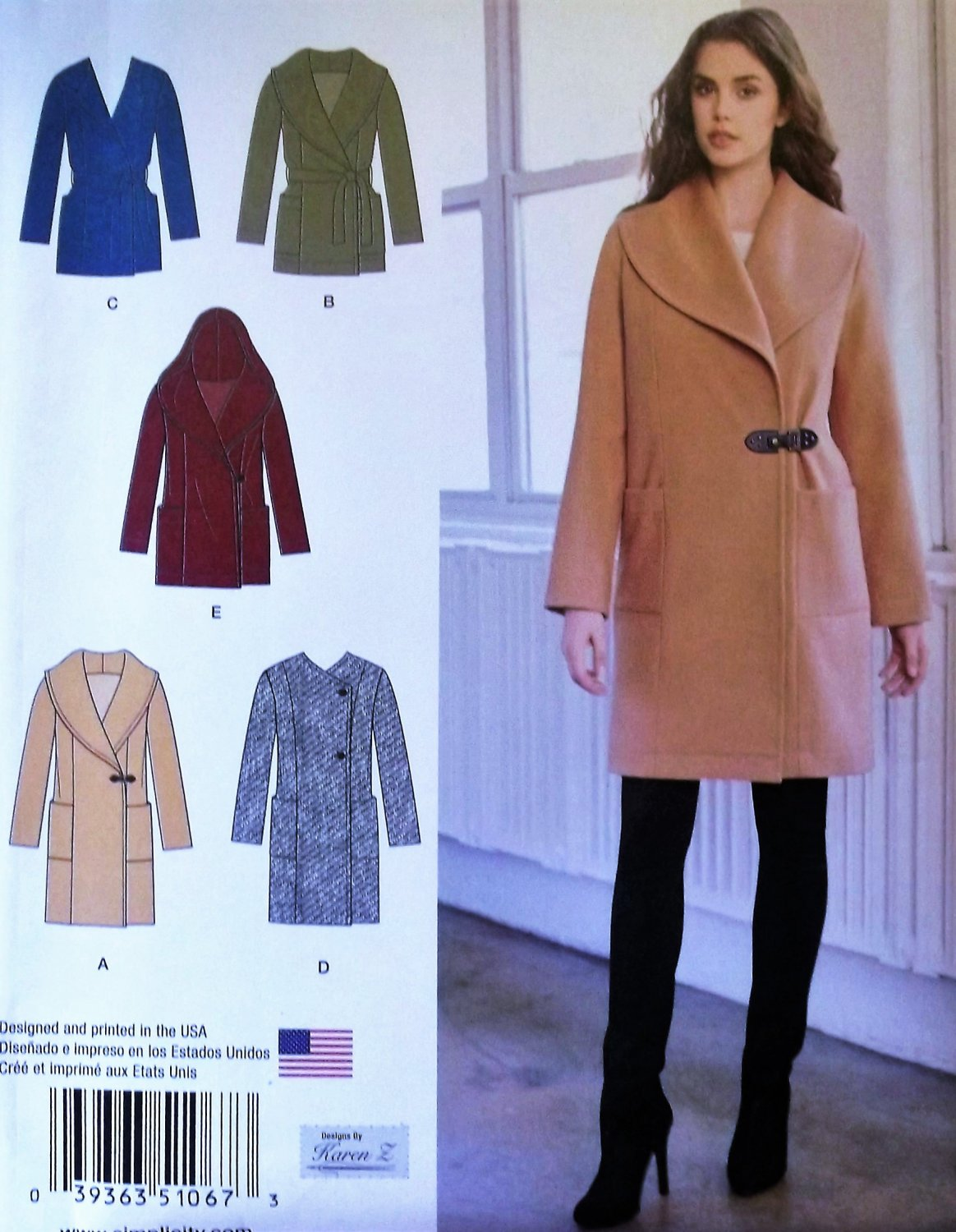 Misses' Easy-To-Sew Jacket or Coat Simplicity 1067  Pattern, Size 6 to 14, UNCUT