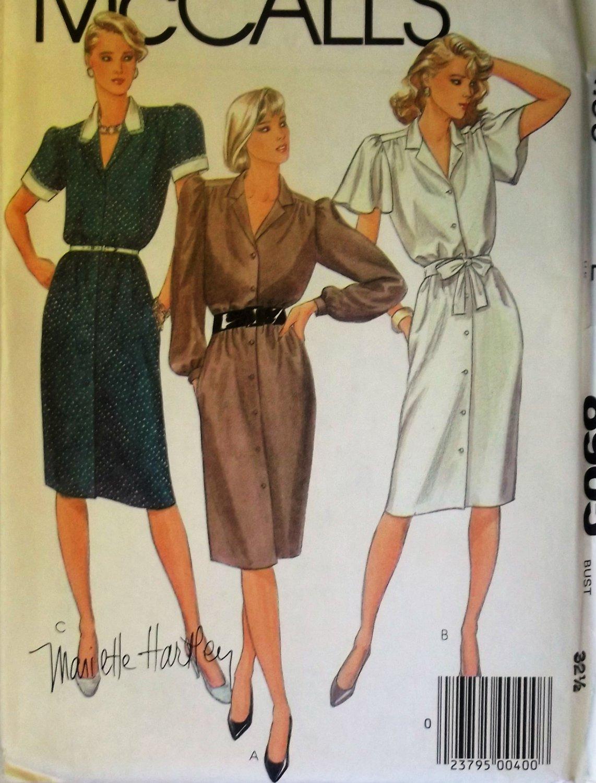 McCalls 8905 Misses' Dress and Tie Belts Pattern, Sz 10, Uncut