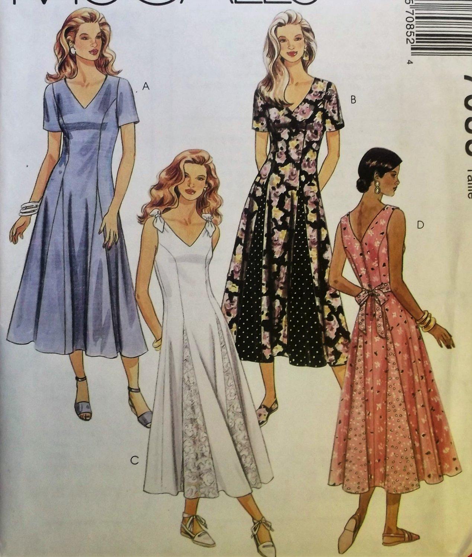 Misses' Dress McCalls 7085 Pattern, Size 8 10 12, Uncut