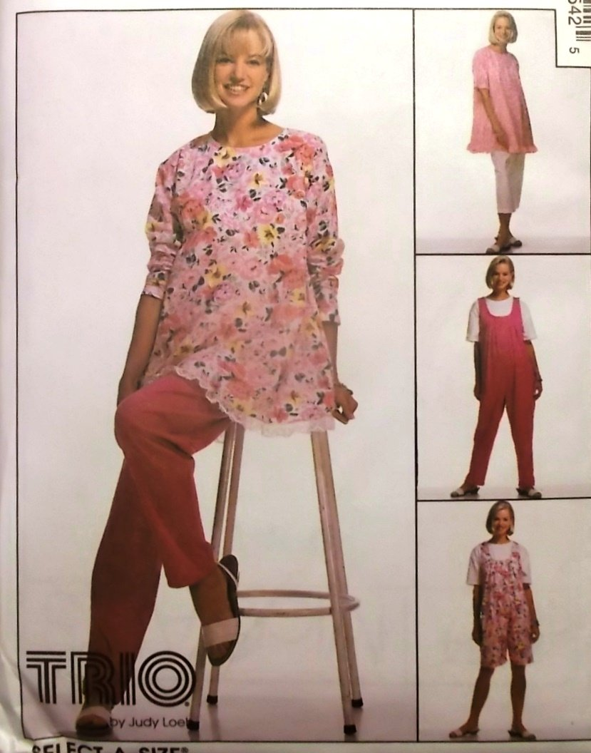 McCalls 8654 Misses' Maternity Tunic Jumpsuit Pants Pattern, Sz 8, 10, 12,  Uncut