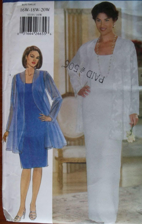 Womens Evening Jacket & Dress Butterick 5319 Pattern, Sz 16 18 20, Uncut