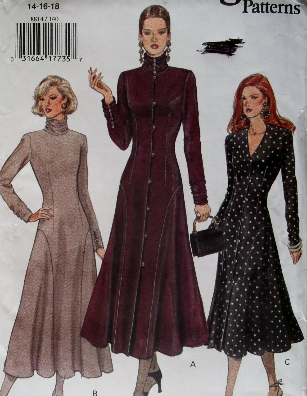 OOP Easy Dress Vogue 8814 Pattern,  Misses Dress, Plus Sz 14 16 18, Uncut