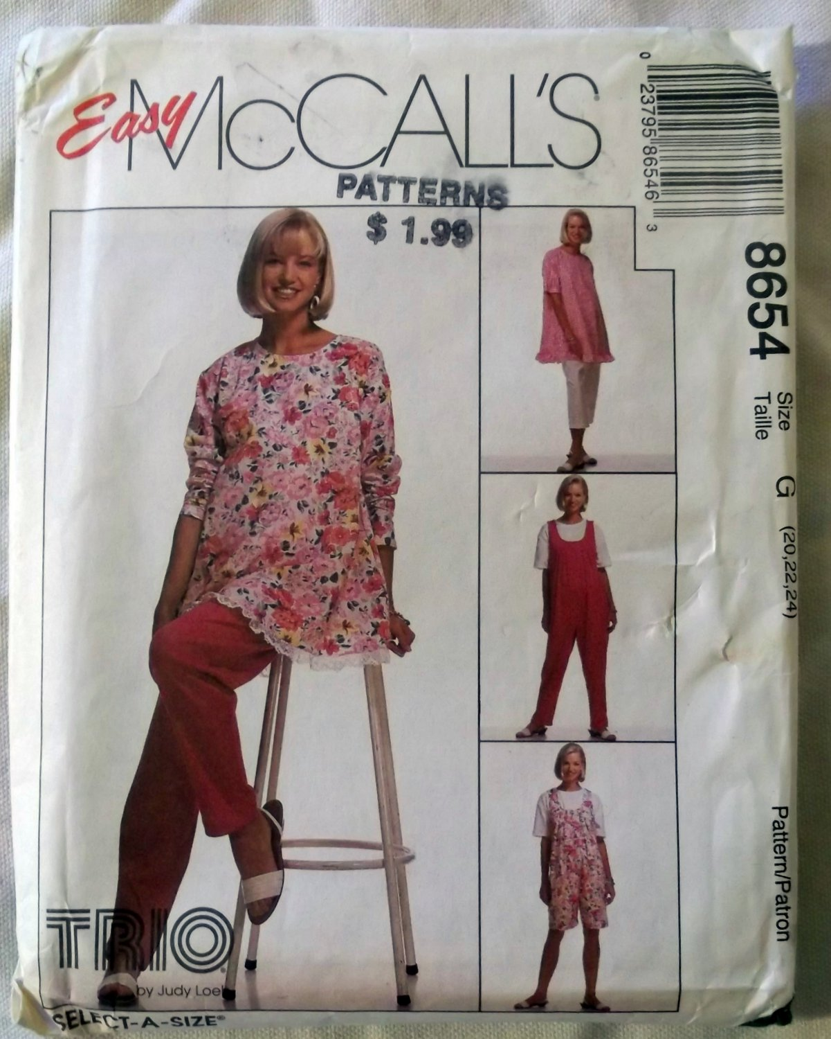 McCalls 8654 Misses' Maternity Tunic Jumpsuit Pants Pattern, Sz 20, 22, 24, Uncut