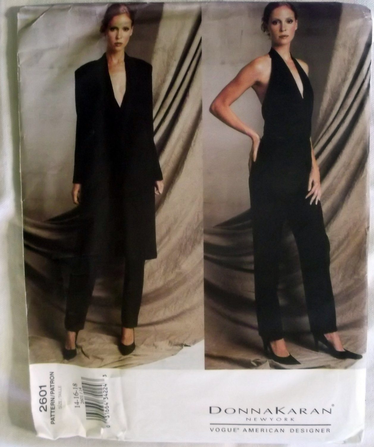 Vogue 2601 Designer Donna Karan Misses Jacket, Pants & Halter Bodysuit Pattern, Size 14 16 18, Uncut
