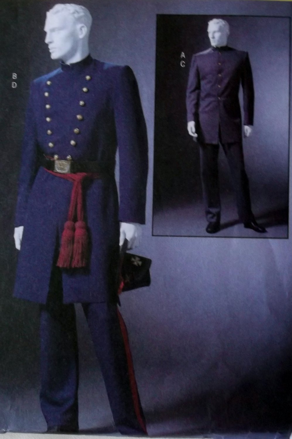 McCalls M4745 Pattern Men's Civil War Costumes, Sz XL to XXxL, UNCUT