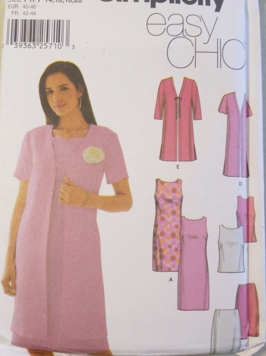 Misses Dress or Top, Skirt & Jacket Pattern  Simplicity 7160 Pattern, Size 14 to 20, Uncut