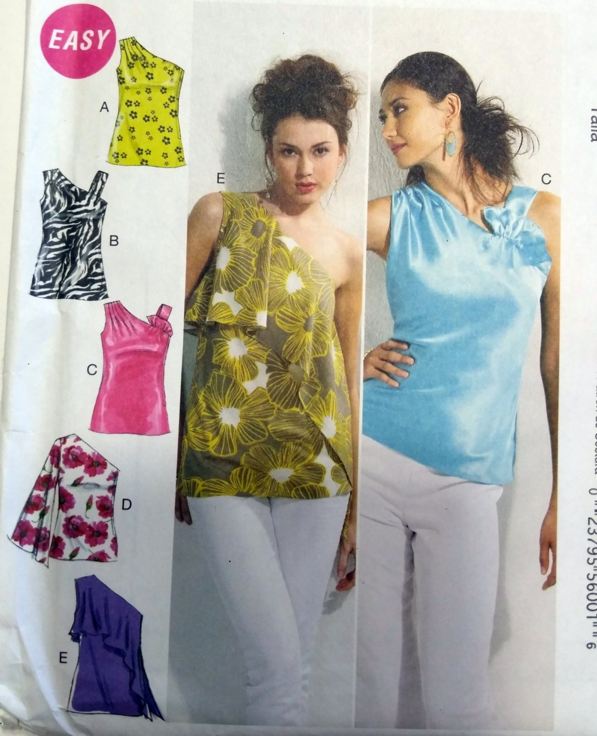 McCall's M6562 Pattern Misses lined Tops,  Size L to XXL, Uncut